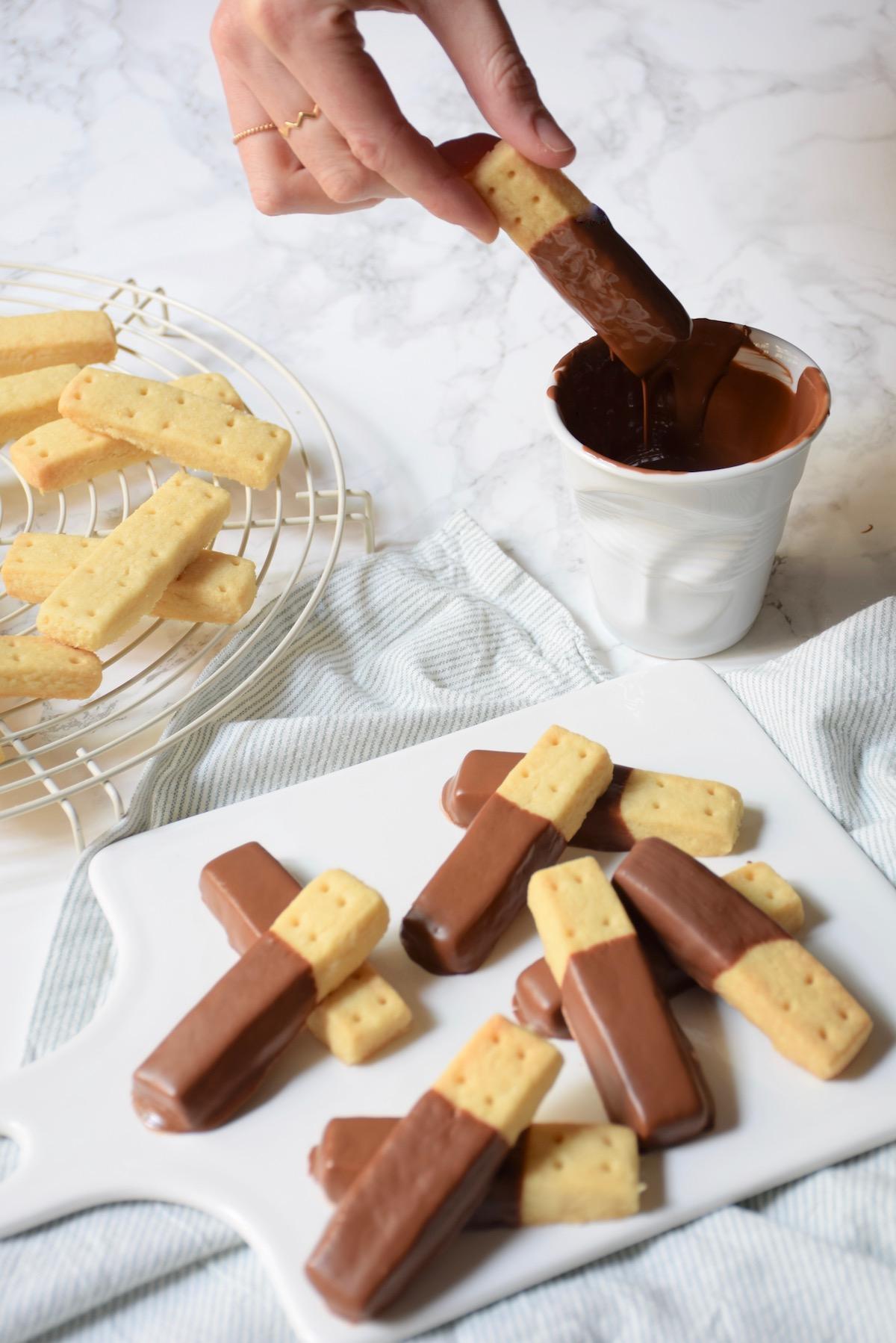 Biscuits shortbreads chocolat lait