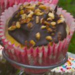Cupcake-muffins bananes-noix, glaçage chocolat