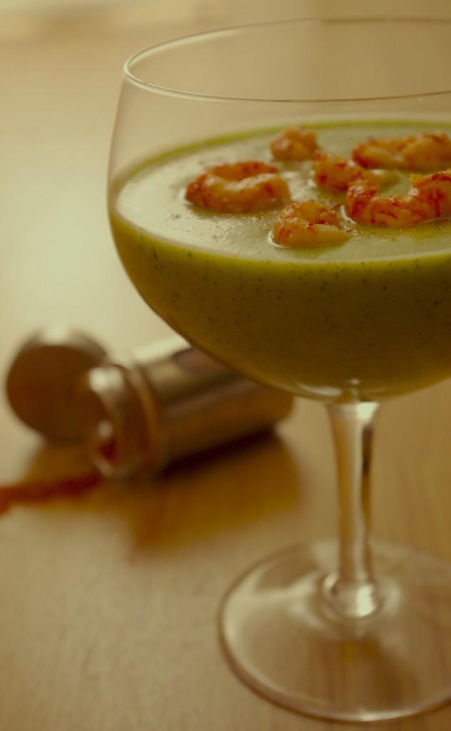 IMGP0653bis1 633x1024 Une soupe froide   Soupe de courgettes froide curry, lait de coco, écrevisses