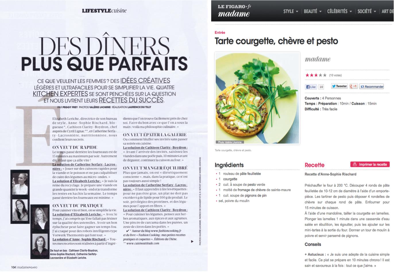 Diners plus que parfaits Madame Figaro Fashion Cooking Revue de presse