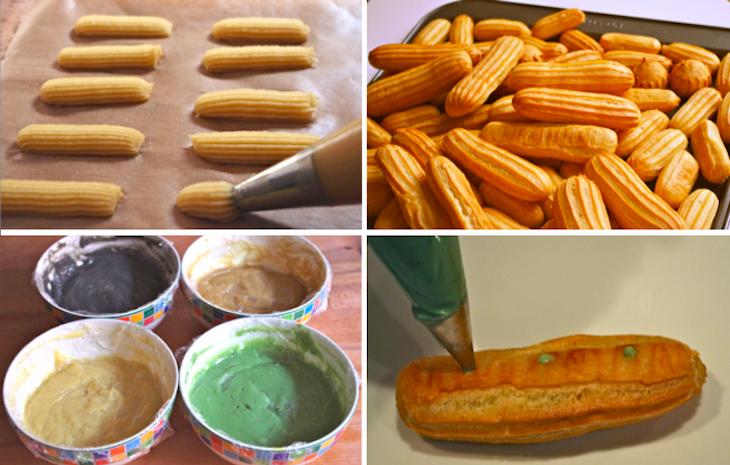 Tuto eclairs coques creme patissiere Eclairs en folie   Pâte à chou & Eclairs vanille, café, pistache, sésame noir (tutoriel photo)