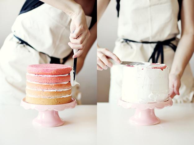 pink rainbow cake 2 Jusquau ciel?   Petite leçon de Sky High Cakes & Sky High Cake thé vert framboise