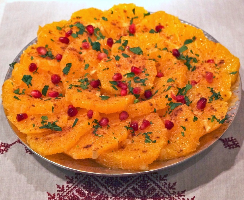 salade d'oranges marocaine, cannelle, fleur d'oranger, menthe, grenade