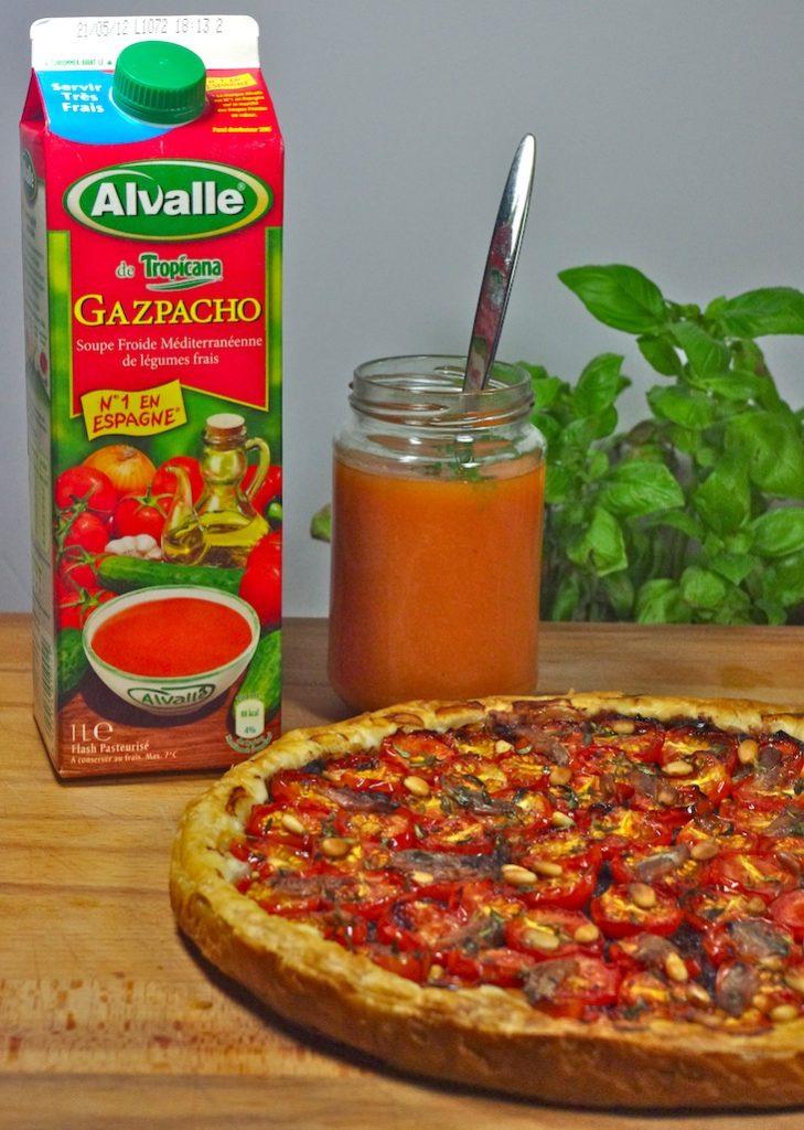 gazpacho alvalle tarte tomates cerises tapenade pignons