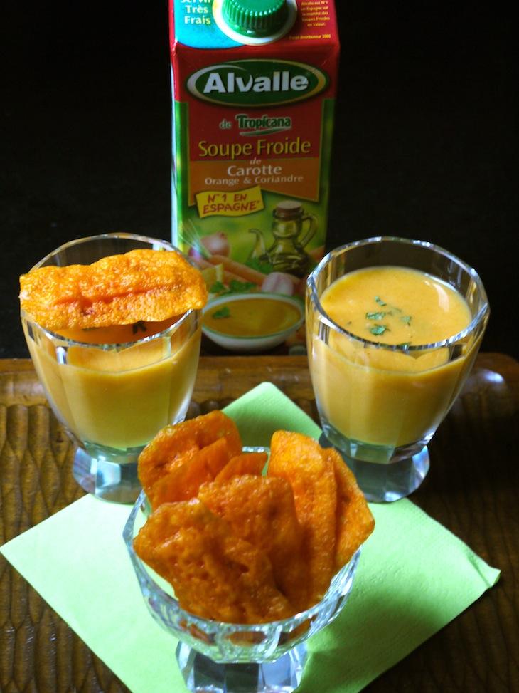 Soupe carotte chips mimolette Quelques notes de soleil #3 – Recettes autour des soupes froides Alvalle [Billet sponsorisé]