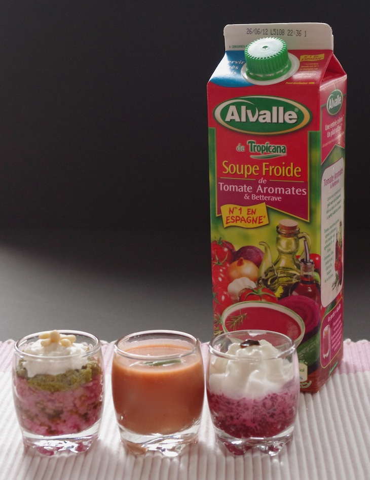 Soupe tomates betteraves Alvalle verrines roses