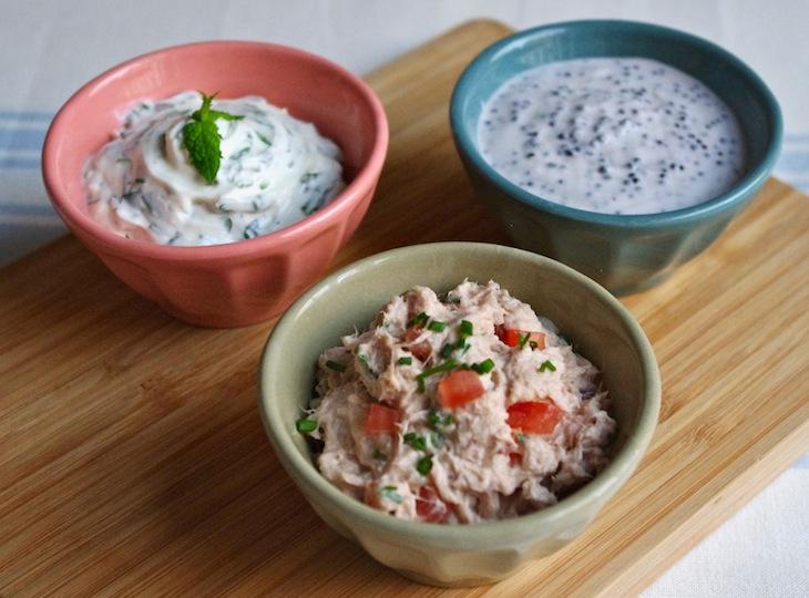 trio sauces dips Emulation apéritive collective   Trio de sauces dips et ses concombres farcis