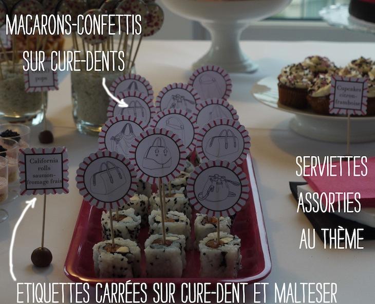Sweet table etiquettes rondes cure dent Sweet Table Mode rose & noire   Comment réaliser sa première Sweet Table ?