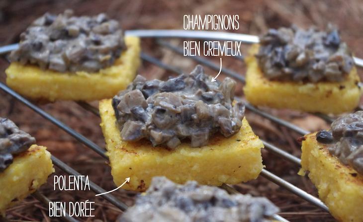polenta doree chamignons cremeux La polenta, ça change des pâtes   Carrés de polenta & champignons crémeux au vin blanc