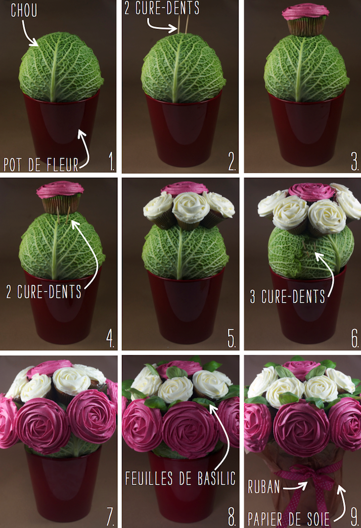 bouquet cupcakes rose tutoriel 2 Octobre rose   Bouquet de cupcakes rose contre le cancer du sein