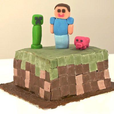 Gâteau-damier bloc d'herbe Minecraft