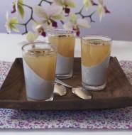 Panna cotta sésame noir-gelée thé au jasmin en biais