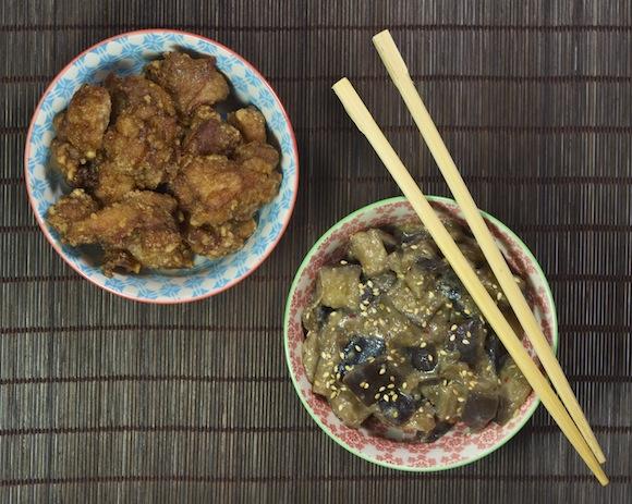 poulet karaage aubergines miso