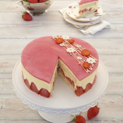 Traditional fraisier cake