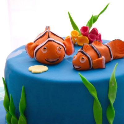Gateau Nemo (modelages en pâte à sucre)