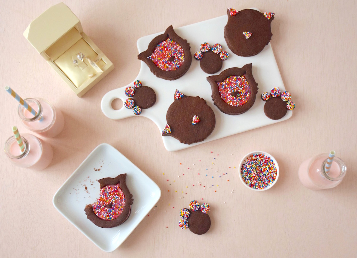 Sablés chat chocolat framboise