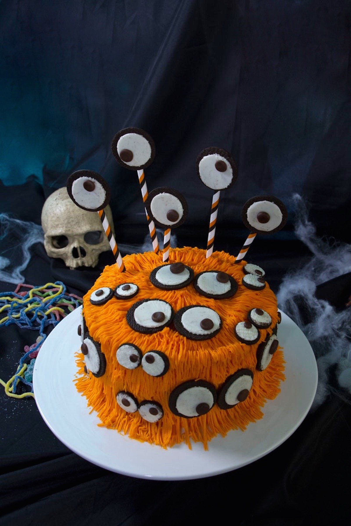 Halloween monster cake with Oreos eyes