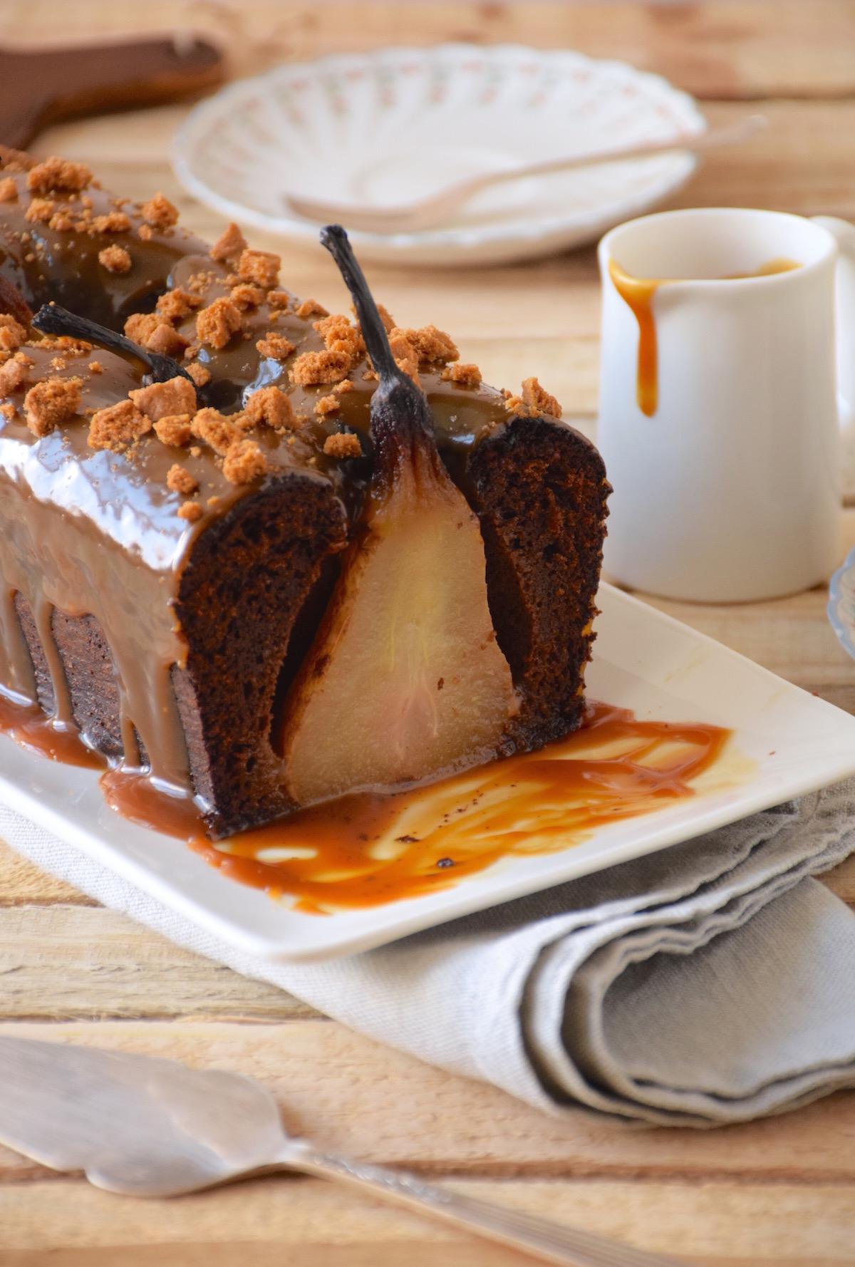 Cake chocolat poires entières
