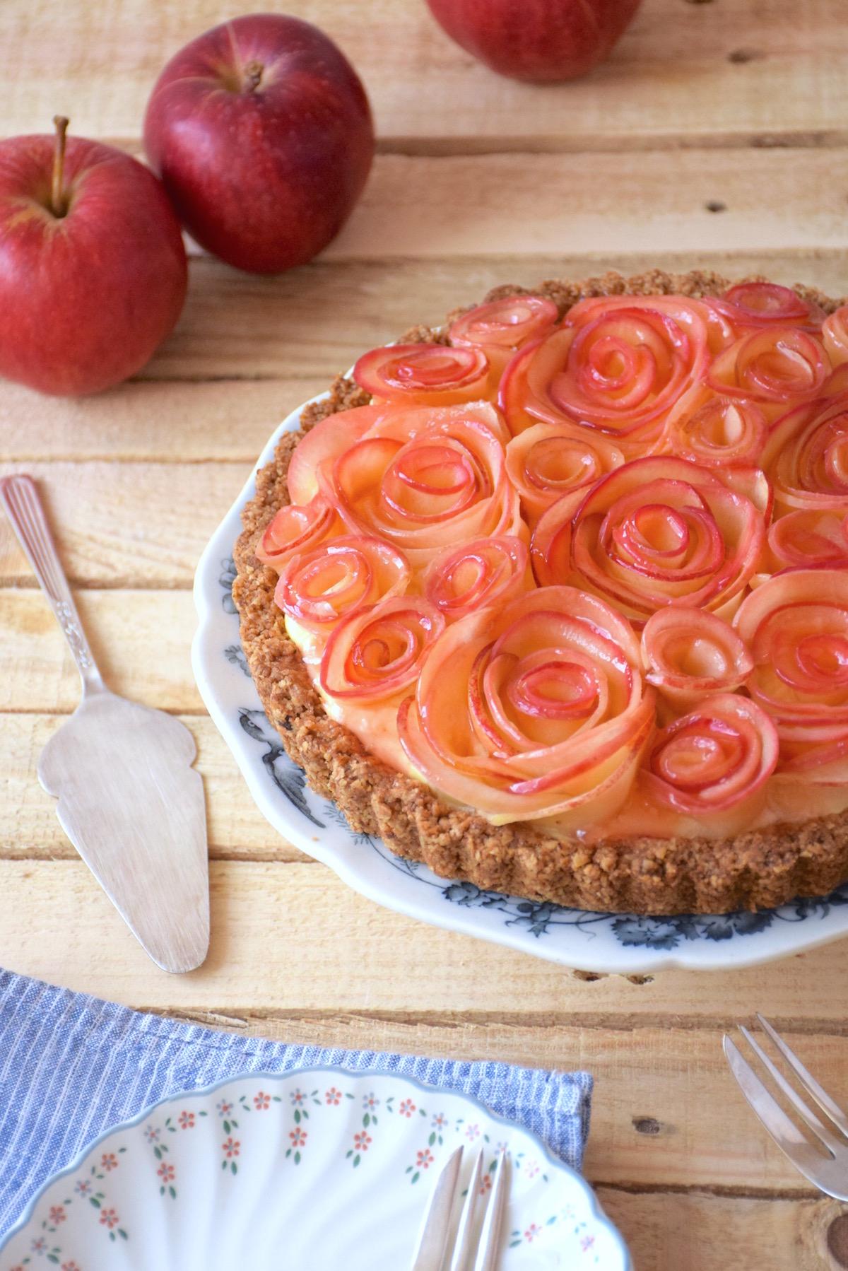 Tarte bouquet de roses pommes érable