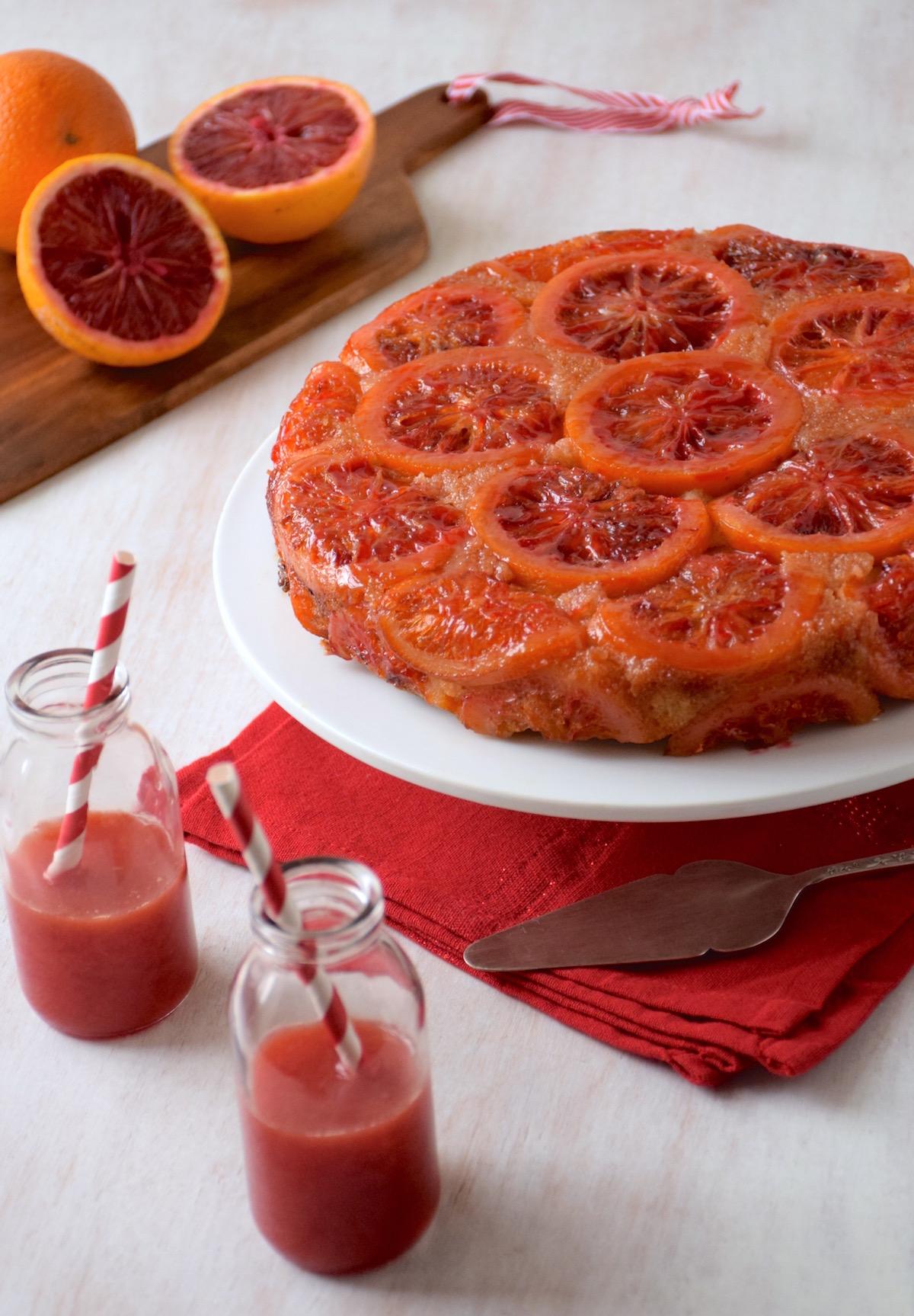 Upside down blood oranges polenta cake