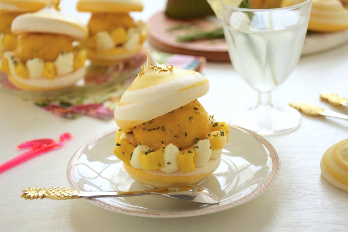 bouchée glacée meringue mangue romarin carte d'or