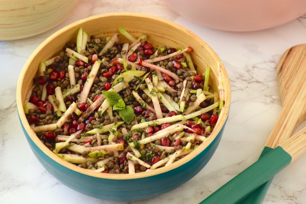 Salade lentilles, grenade, granny smith