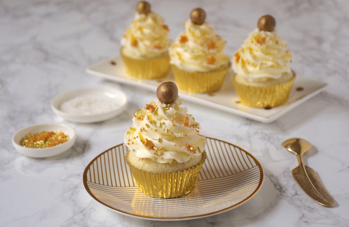 Cupcakes blanc coco pailettes