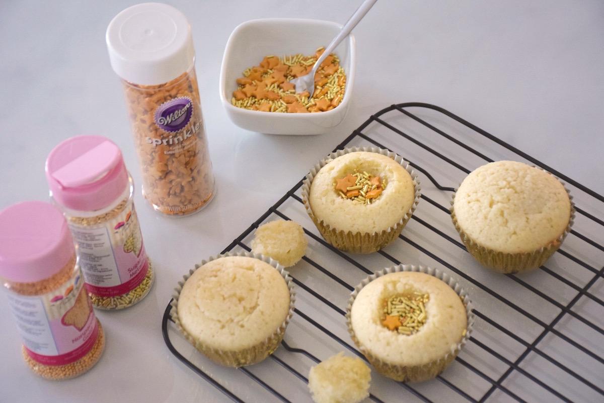 Cupcakes coco paillettes de nouvel an