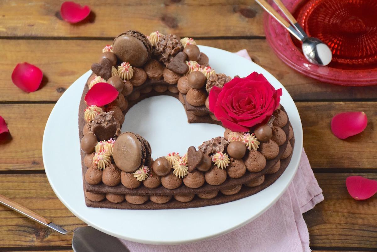 Gâteau chiffre coeur chocolat-Carambars