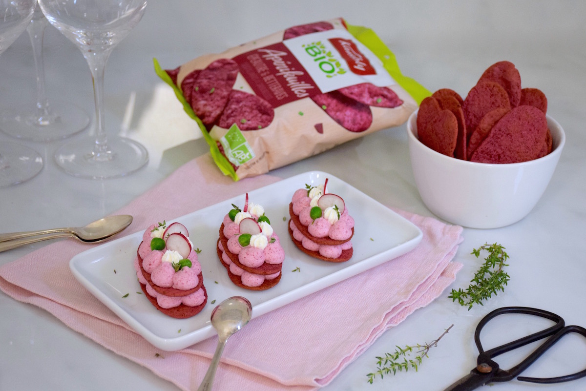 Pink mille-feuilles betteraves chèvre