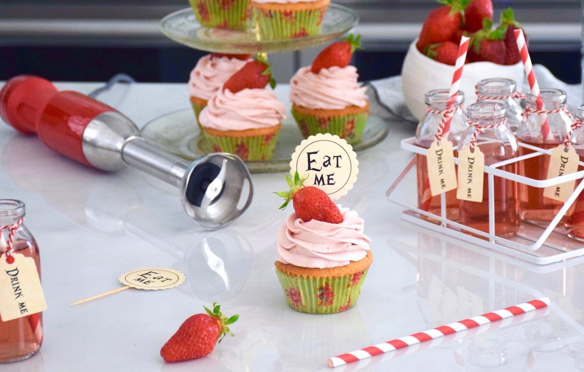 Parfaits cupcake vanille fraise, ganache montée fraise
