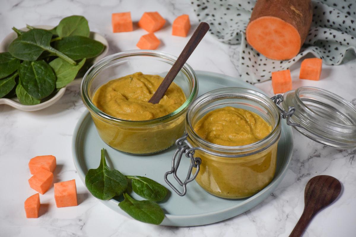 Petit pot bébé: purée épinards patate douce