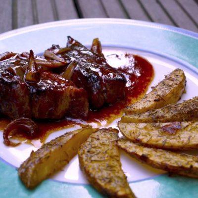 Spare ribs/Potatoes & Tarte à la rhubarbe
