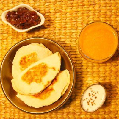 Cheese naans & Velouté de carottes au curry