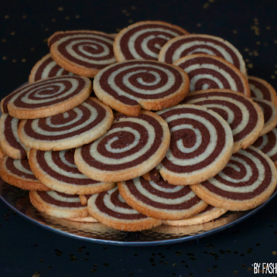 Sablés spirale vanille chocolat