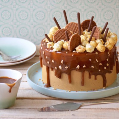 Chocolate caramel chicory layer cake