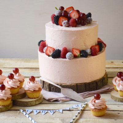 Vanilla cake & rhubarb icing