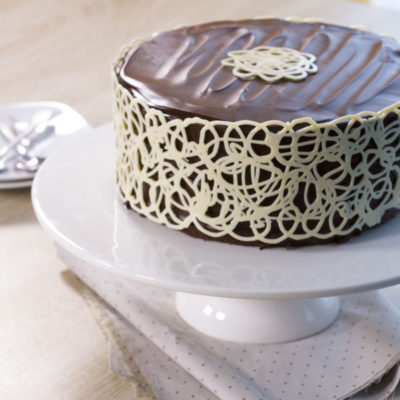 Perfect mud cake and white chocolate lace