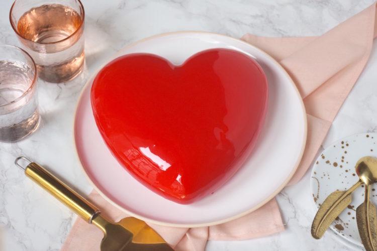 Gâteau coeur fraise pistache St Valentin