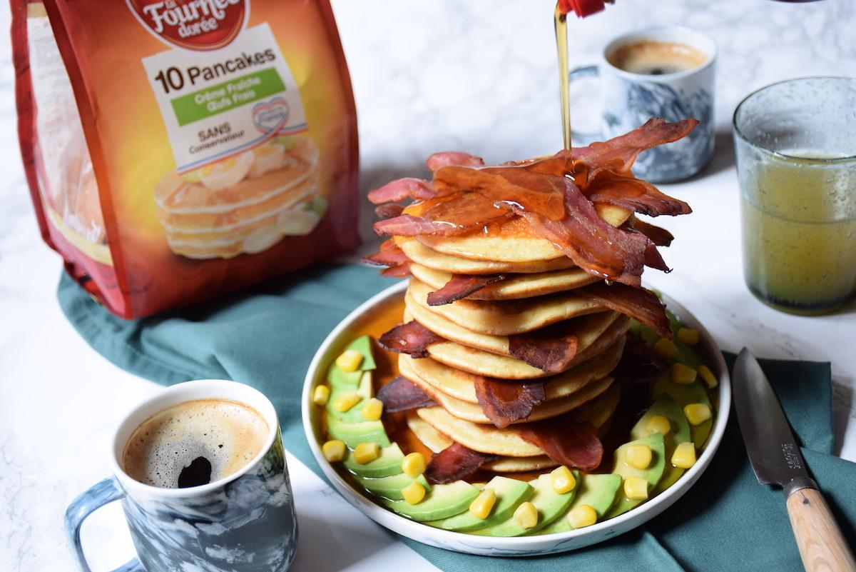 Savoury Pancake stack - Pancakes, bacon & sirop d'érable