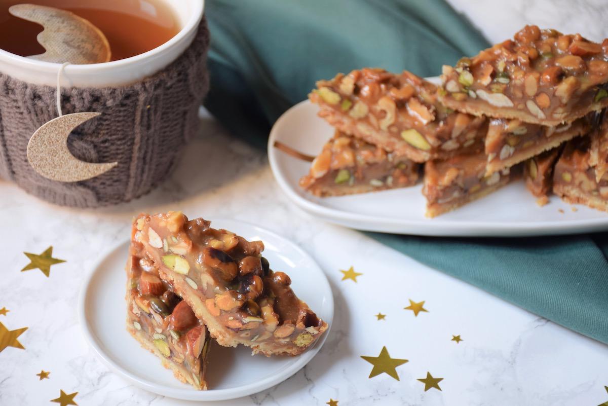 Carrés aux noix, shortbread & caramel